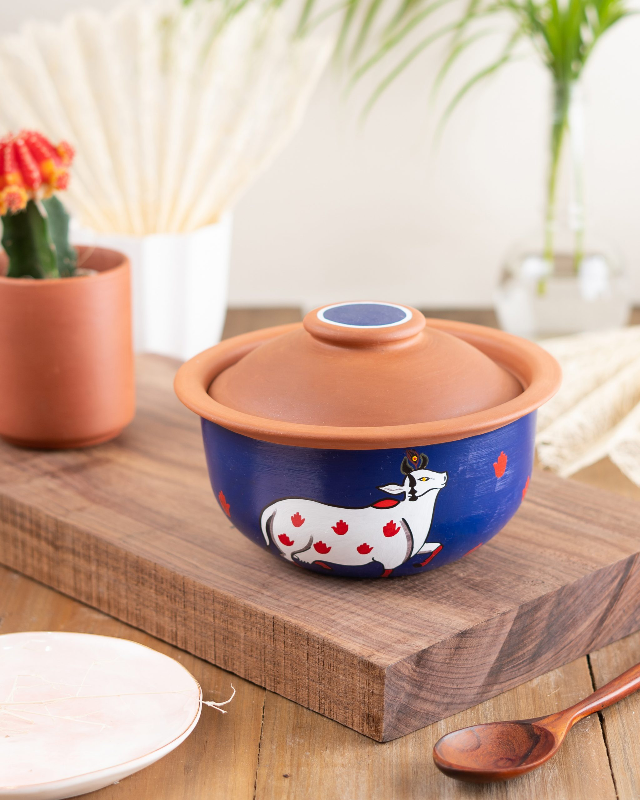 Terracotta Bowl Indian Cow Print With Lid