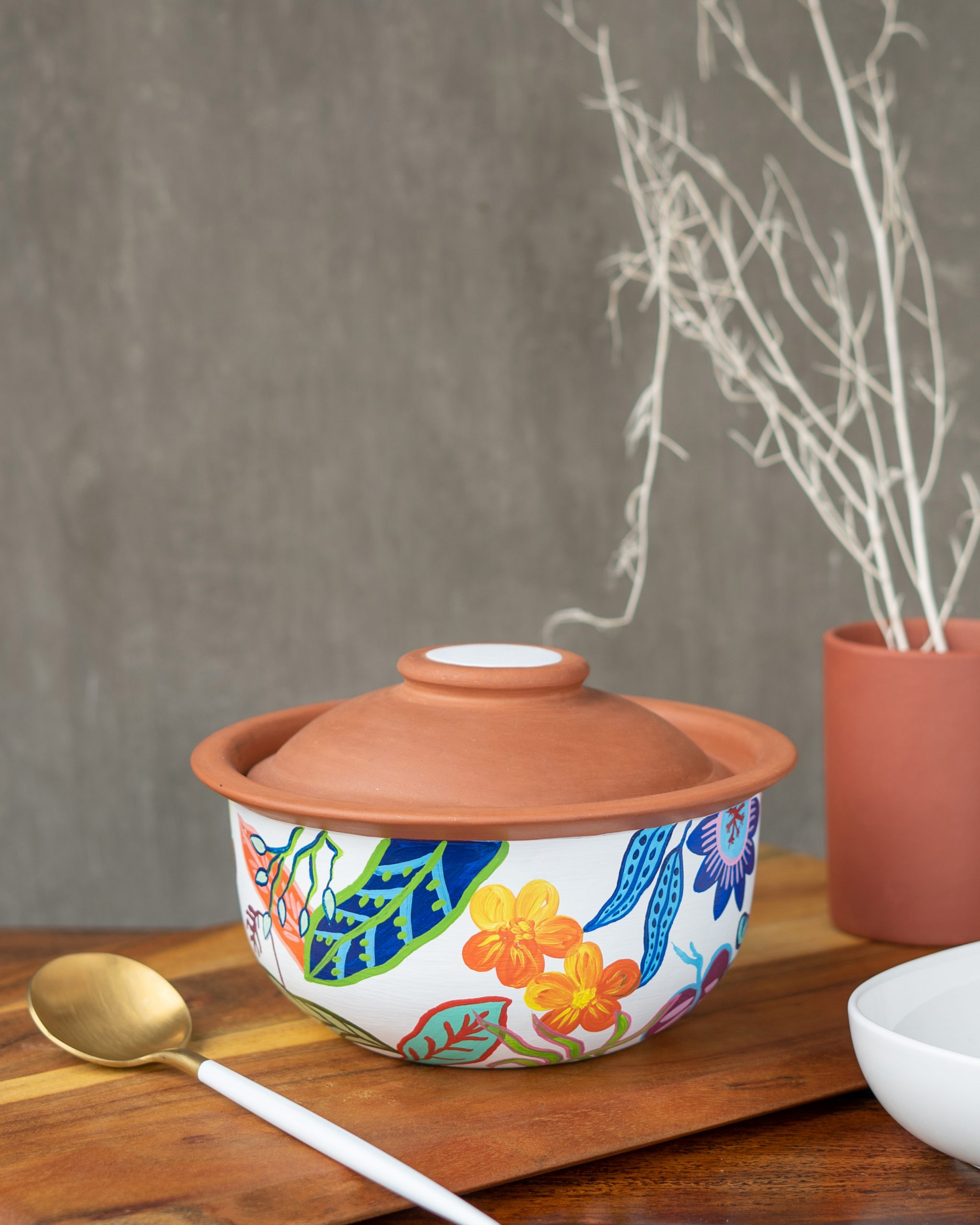 Terracotta Bowl White Print With Lid