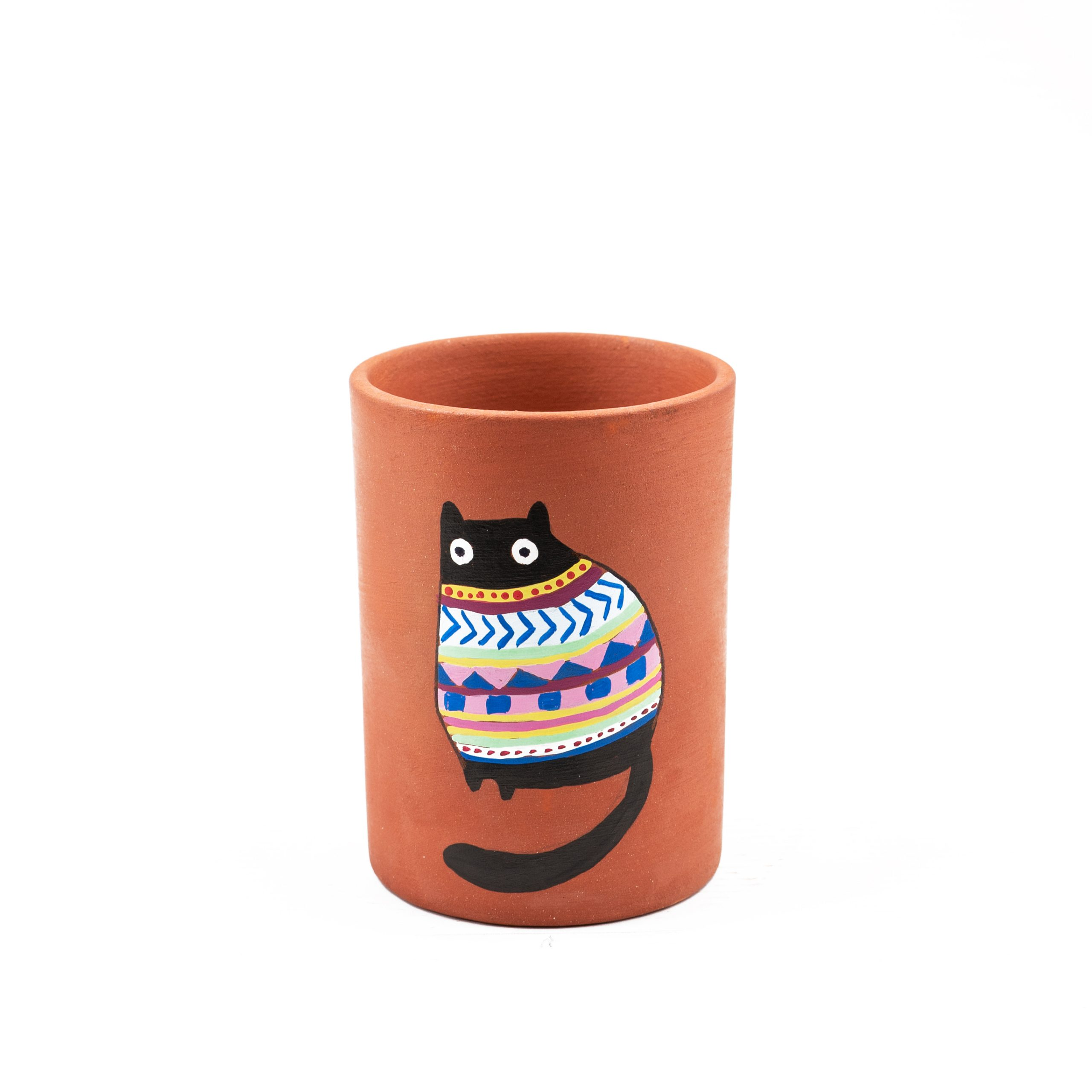 Terracotta Black Colorful Cat Water Glass